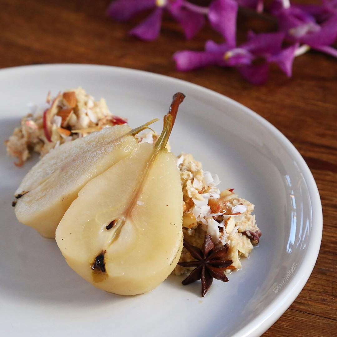 @therawfeast – Coconut Granola and Orange Poached Pears
