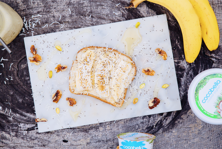 1. Healthy Coconut Spread with Banana and Chia on Toast
