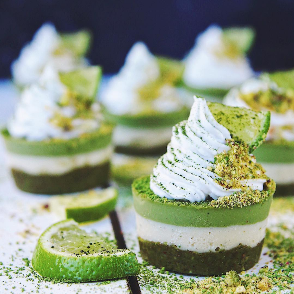 Mini matcha & lime cheesecakes @Thrivingonplants