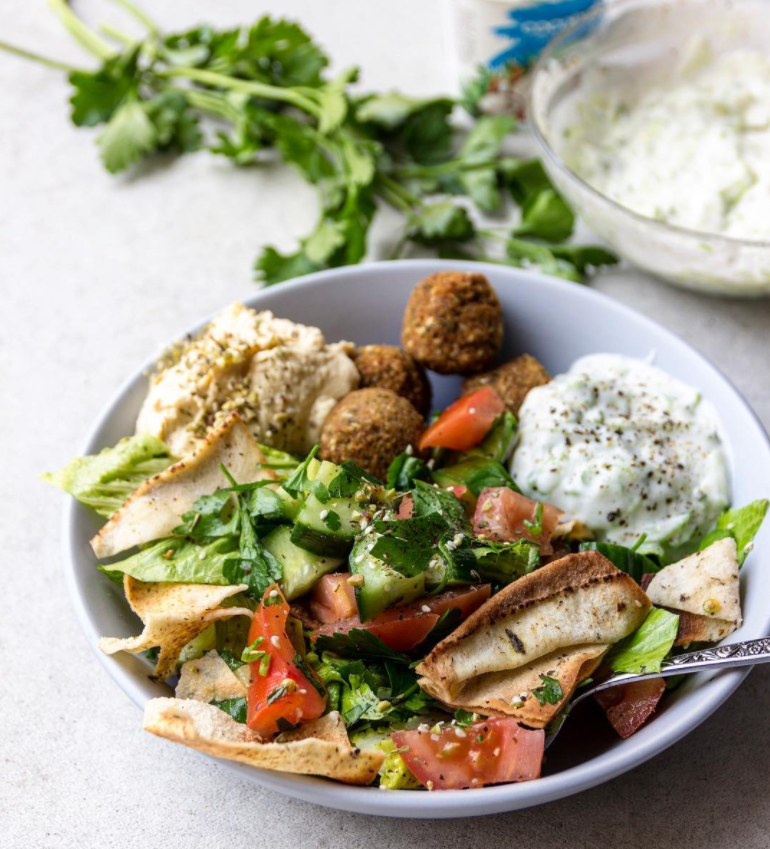 @healthyfrenchwife Fattoush Salad, Hummus, Falafels and Cocobella Coconut Tzatziki