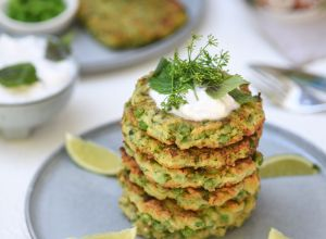 Lisa Holmen Vegan Zucchini and Pea Fritters