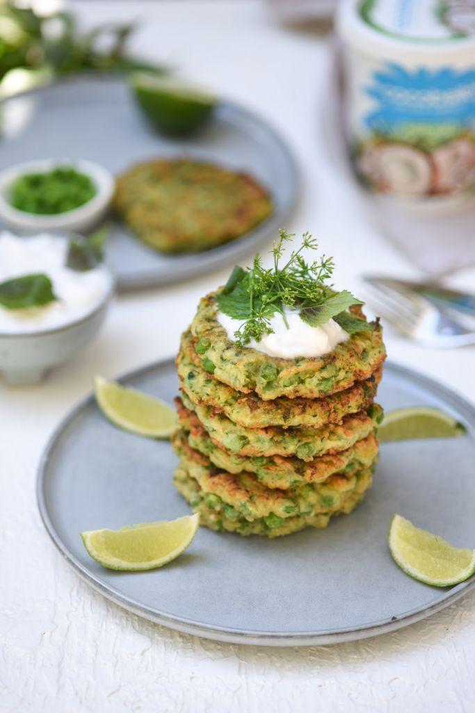 Lisa Holmen Vegan Zucchini and Pea Fritters
