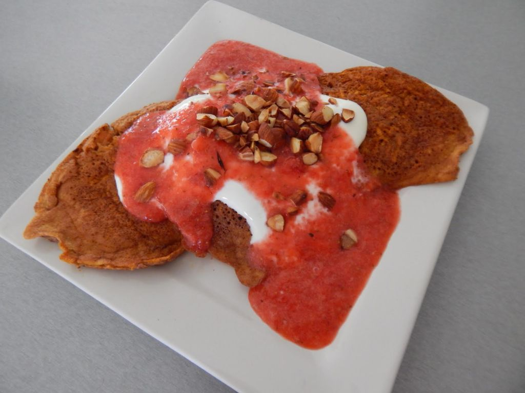 Sweet Potato Pancakes with Cocobella & Strawberry sauce by @capriciouscloe