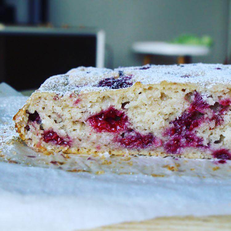 Raspberry, Lemon, Coconut Cake by @ninabarwald