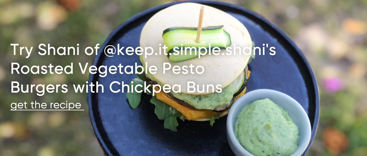 Try Shani of @keep.it.simple.shani's Roasted Vegetable Pesto Burgers with Chickpea Buns