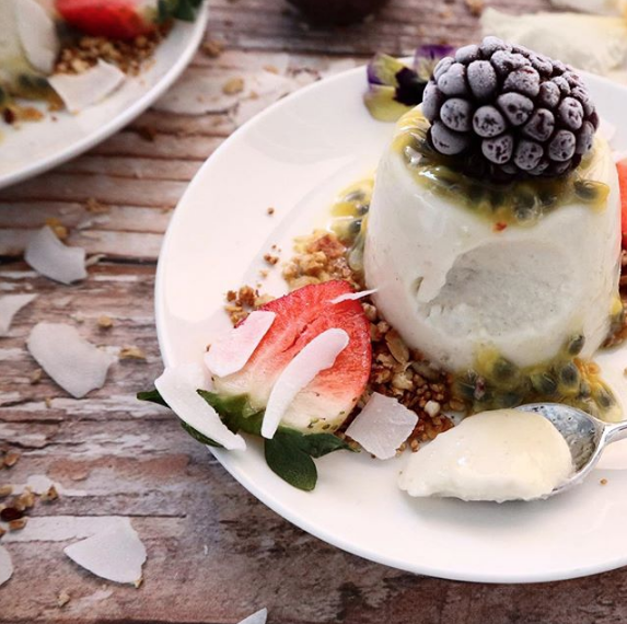 Coconut yoghurt Passionfruit Panna Cotta by @onefullbelly