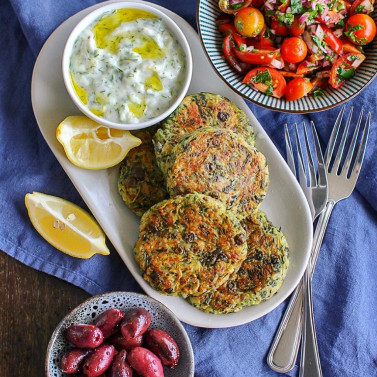 Greek Vegan Zucchini Fritters with Vegan Tzatziki by @bellybaobabe