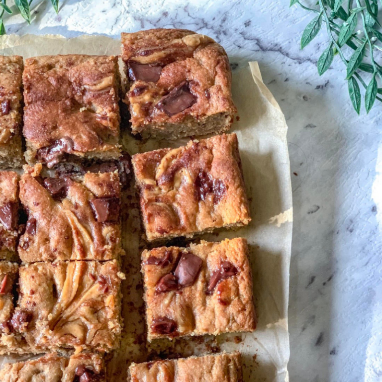 Banana and Peanut Butter Swirl Blondies