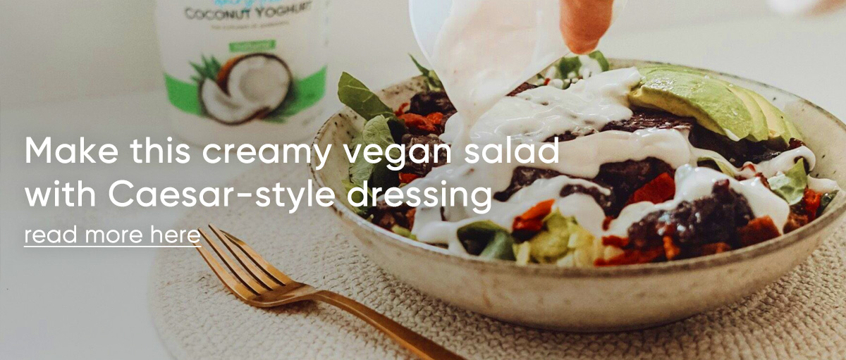 Make this creamy vegan salad with Caesar-style dressing