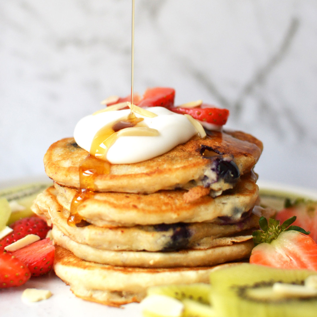 Vegan Yogurt Blueberry Pancakes